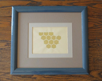 Honey Comb | Gold on Manila | Handpulled print | Handmade linocut | Relief print | wall art