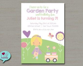 Easter, Garden Gardening Party, Spring, Girl Birthday Invitation - PRINTABLE DIGITAL FILE 5x7