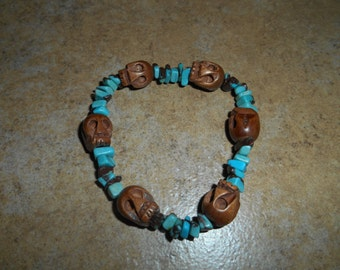 Wood Skull Bracelet with Tourquoise beads