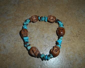 Wood Skull Bracelet with Tourquoise beads