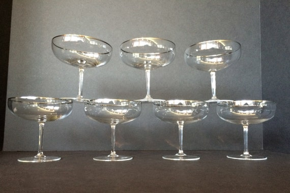1950s vintage champagne coupe glasses set of 7 silver rim for Thin stem wine glasses