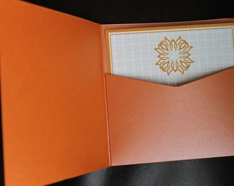 Wedding Pocketfold -  5.75 square | Pocketfold Invite - Metallic |  Square Pocket fold Invitation / 10/pk