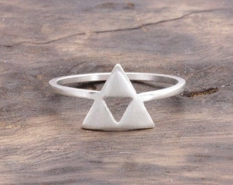 925 sterling silver open triple triangles ring, triforce ring, triangle ring, gift for her (R_00058)