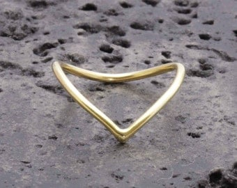 1.3 mm 925 vermeil gold chevron rings, knuckle ring ,v ring