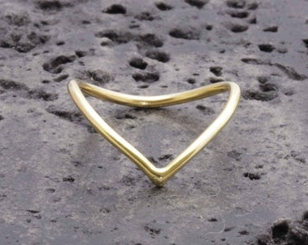 1.3 mm 925 vermeil gold chevron rings, knuckle ring ,v ring