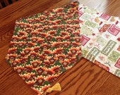 Thanksgiving Christmas table runner, reversible, turkey pattern one side red and green pattern other side, Holiday decor, decoration  024