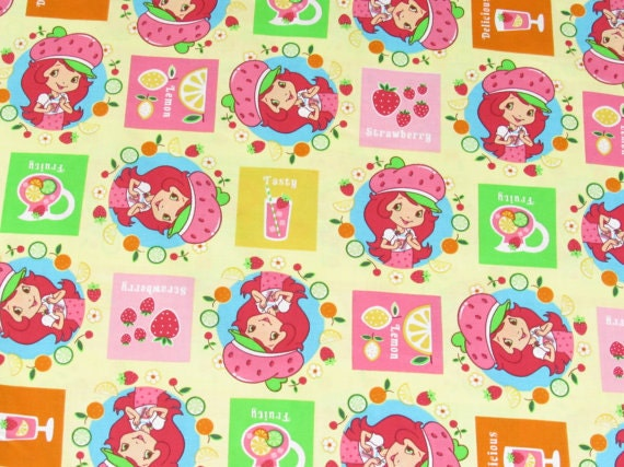 Strawberry Shortcake Cotton On Yellow Fabric 1 Yard From