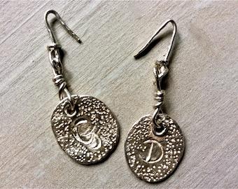 Bespoke Personalised Fine Silver Keepsake Drop Earrings