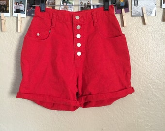 Red high waist button up shorts