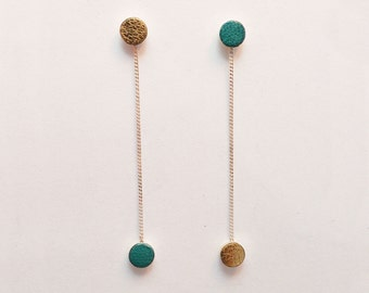Simple Delicate Round Sterling Silver and Leather Droplet Earrings - Turquoise and Gold