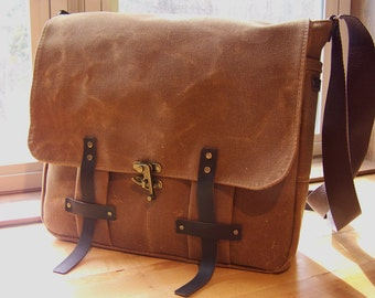 Waxed Canvas Messenger Bag/ Made to Order
