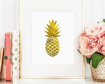 Pineapple print, printable wall art decor, pineapple art, minimalist art, faux gold foil, art for office or bedroom, digital download JPG