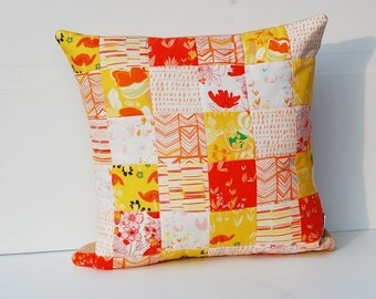 """SALE!_Modern Patchwork Pillow Cover, Quilted Cushion Cover, Quilted Pillow, Cushion Cover, Patchwork Pillow, Leah Duncan,  16"""" insert"""