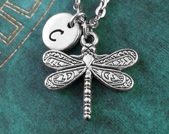 Dragonfly Necklace, Personalized Necklace, Hand Stamped Necklace, Charm Necklace, Name Necklace, Engraved Necklace, Mothers Day Necklace