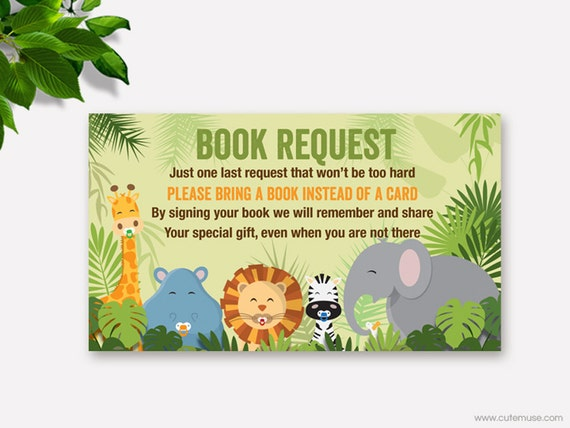 Jungle Book Request Card Baby Shower Printable Safari Bring A Book