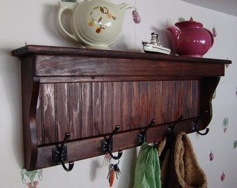 "35"" Handcrafted Wood wall mount Coat Rack, Display Shelf Key Hook, Red Mahogany and other sizes and stains"