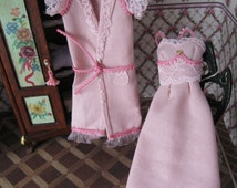 Set of robe and Nightgown miniature dollhouses