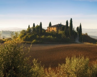 Belvedere, Tuscan Countryside, Tuscany, Italy, Farmhouse, Rustic, Italian Villa, Val d'Orcia - Travel Photography, Print, Wall Art