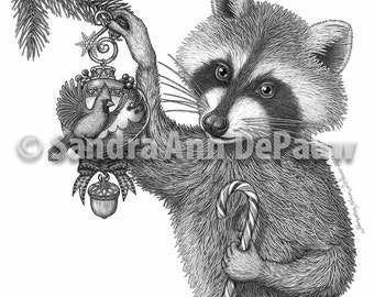 Holiday Animals - Christmas Racoon