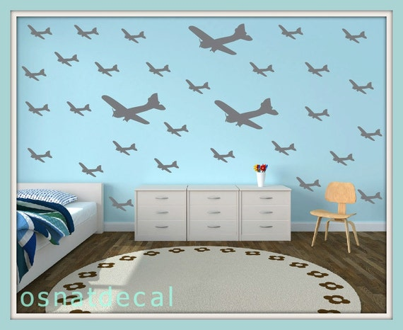 FREE SHIPPING Wall Decal Aircraft  Each Kit 64. Color Gray. Nursery. Wall Art. Home Decor.Kids Room Decal.Housewares.