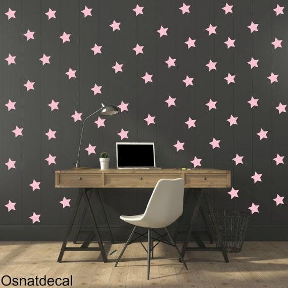 FREE SHIPPING Wall Decdal Pastel Pink Stars.A Large Amount 125 stars.Home Decor.Diy Wall Sticker.