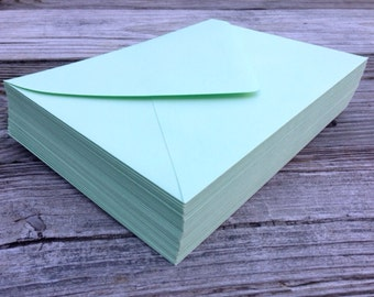 50 A7 Mint Green 5x7 Invitation or A1 (4Bar) RSVP Pointed Flap Envelopes - Mint Light Green Paper Source