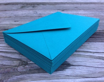 50 Teal Turquoise Peacock A7 5x7 Invitation or A1 (4Bar) RSVP Pointed Flap Envelopes -  Paper Source Envelope