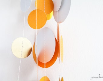 Paper Garland - White Orange Gold
