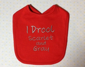 OSU Drool Scarlet and Gray Baby Bib  - Shipping Included.