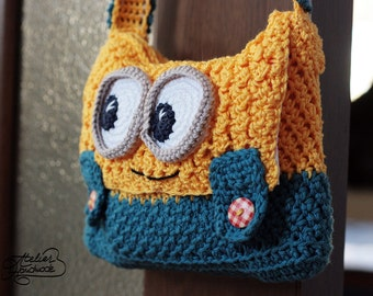 Crochet PATTERN - Minion yellow and blue Purse - PDF FILE