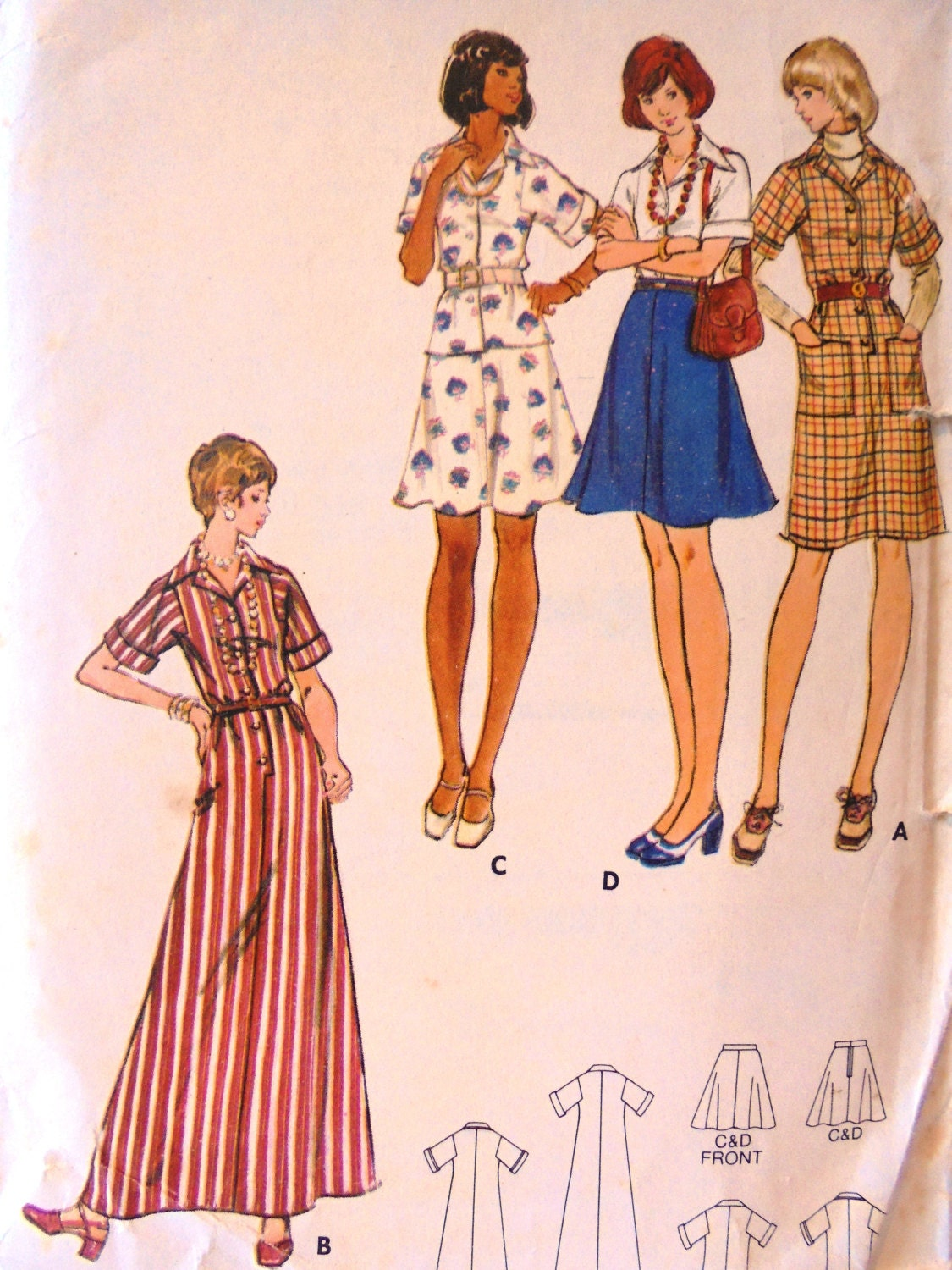 1970s Shirt Dress Blouse And Skirt Butterick 3201 Size 12