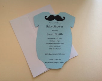 Boy Mustach Onesie Baby Shower Invite