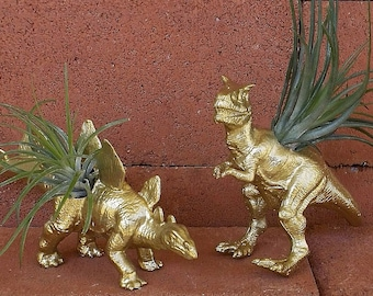 Dinosaur Planters, Gold, T-Rex, Stegosaurus, Air Plants, Gold Dinosaur, Dinosaur Planter, T-Rex, Jurassic Fun, Animal Planter