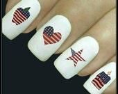 Nail Decal Patriotic Nail Art July 4th 20 Americana Water Slide Decals Fingernail Decals Memorial Day Nail Tattoo