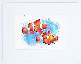 "8"" x 10"" Tropical Clown Fish High Quality Fine Art Print Nemo"