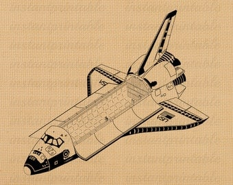 Space shuttle image, spaceship instant download, printable iron on fabric transfer, downloadable images, clip art, scrapbooking - no. 224