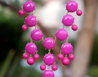 Pink Magenta Bubble Statement Necklace