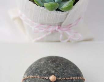 Tiny Stardust rose gold ball necklace, everyday jewelry, delicate and dainty, simple, beautiful stardust ball