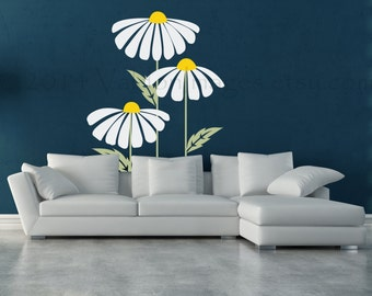 Daisy Wall Decal Etsy - Yellow flower wall decals