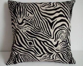 Zebra pillow, 16x16, Throw pillow cover, Decorative pillow, Animal print pillow, Animal pillow, Black throw pillow, Black accent pillow