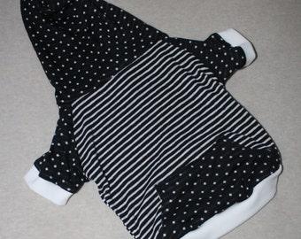 Dog Hoodie, Black & White Stripes and Polka Dots