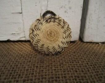 Native American miniature flat horsehair basket