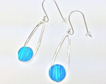 Aqua Blue Fire Opal Earrings // 925 Sterling Silver // Shimmering Blue Opal Earrings // Hammered