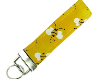 Personalized Fabric Key Chain / Key Fob Bees With Optional Initials