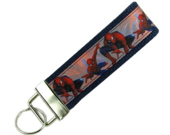 Key Chain / Key Fob made with Spiderman Ribbon; with Optional Initials