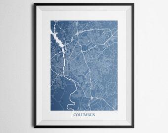 Columbus, Georgia Abstract Street Map Print