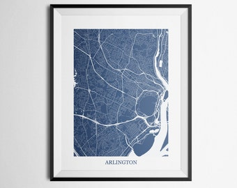 Arlington, Virginia Abstract Street Map Print