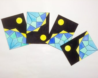 four modular ACEO hand painted with watercolors and acrylic color. Geometric decoration