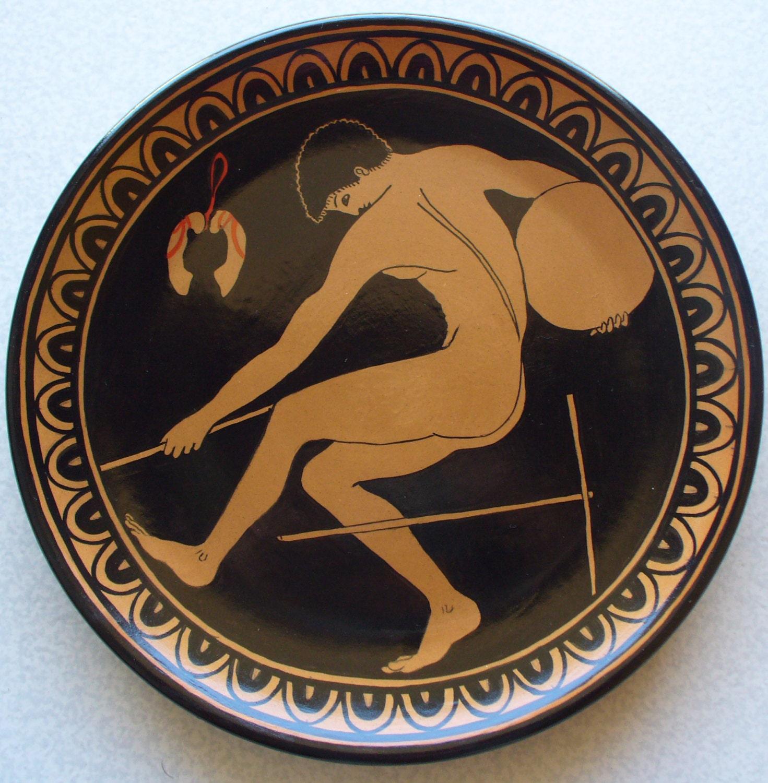 Piatto di terracotta con discobolo da un vaso greco del 500 for Decorazioni piatti