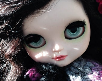 "Ooak Custom Icy Doll, Blythe Sister ""Cassandra"" Art Doll with three outfits"